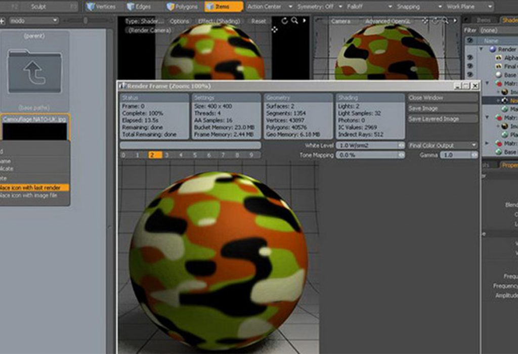 Editing Photoview 360 2010 materials